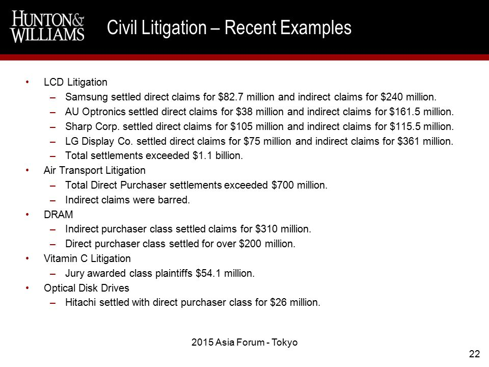 LCD Litigation –Samsung settled direct claims for $82.7 million and indirect claims for $240 million.