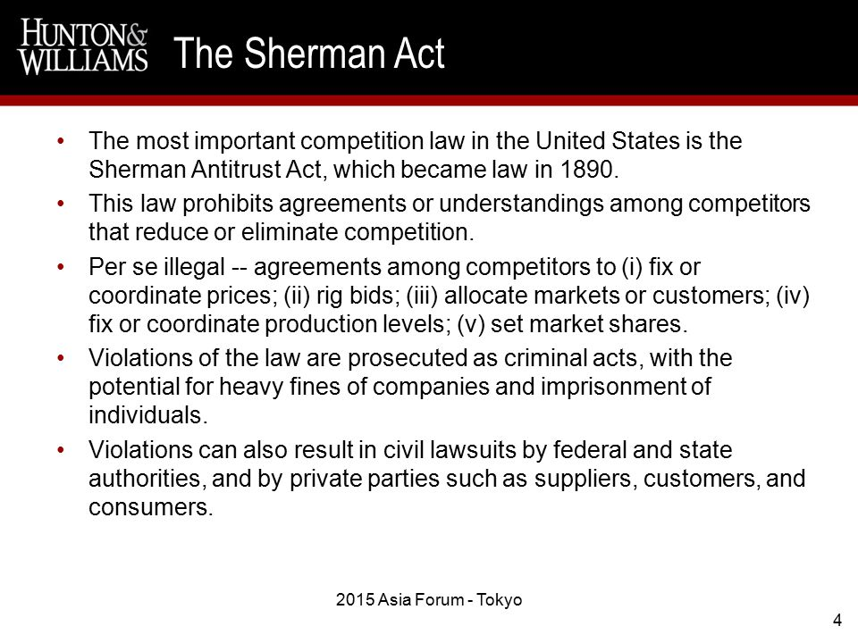 The most important competition law in the United States is the Sherman Antitrust Act, which became law in 1890.