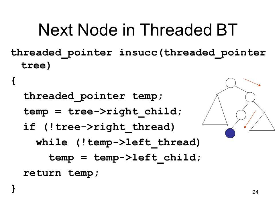 24 Next Node in Threaded BT threaded_pointer insucc(threaded_pointer tree) { threaded_pointer temp; temp = tree->right_child; if (!tree->right_thread) while (!temp->left_thread) temp = temp->left_child; return temp; }