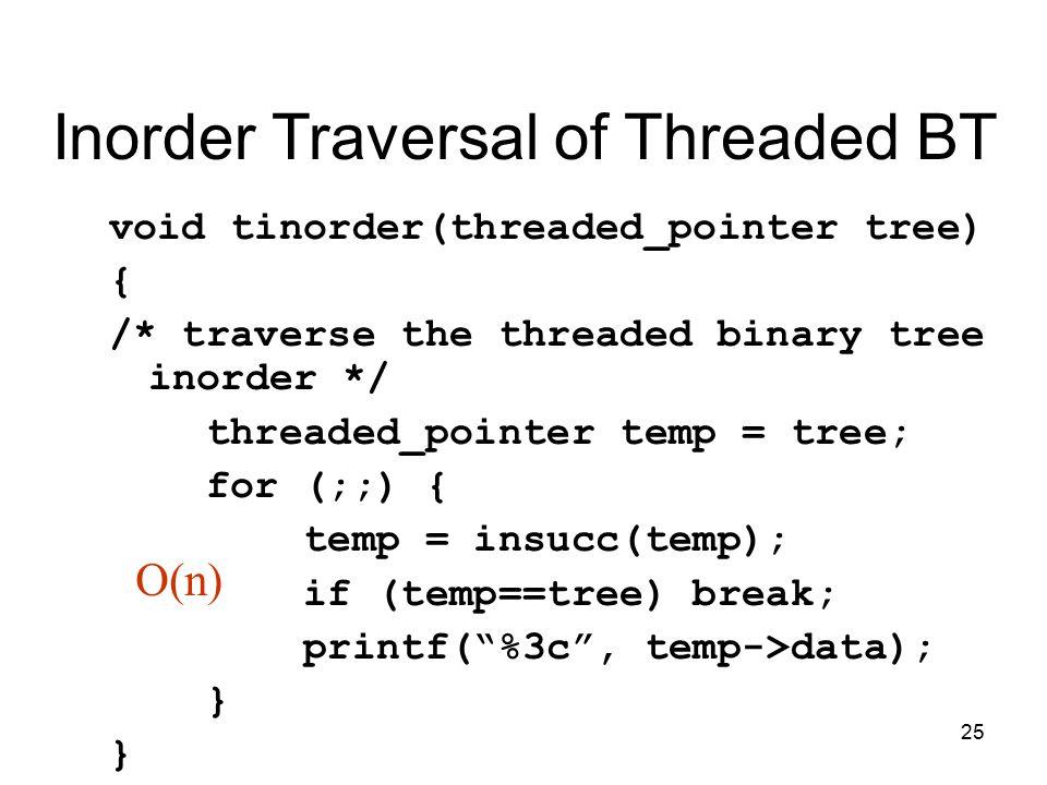 25 Inorder Traversal of Threaded BT void tinorder(threaded_pointer tree) { /* traverse the threaded binary tree inorder */ threaded_pointer temp = tree; for (;;) { temp = insucc(temp); if (temp==tree) break; printf( %3c , temp->data); } O(n)