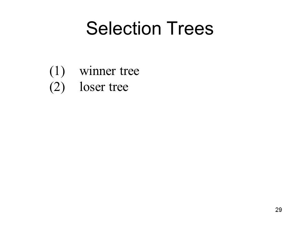 29 Selection Trees (1)winner tree (2)loser tree