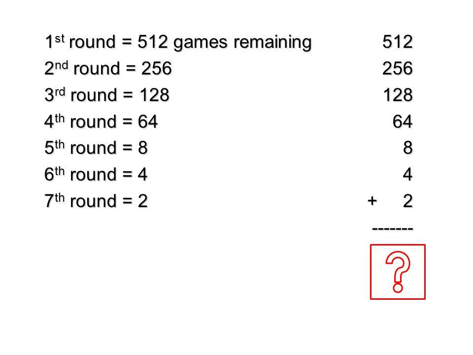 1 st round = 512 games remaining 2 nd round = 256 3 rd round = 128 4 th round = 64 5 th round = 8 6 th round = 4 7 th round = 2 5122561286484 + 2 + 2-