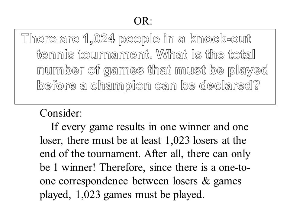 OR: Consider: If every game results in one winner and one loser, there must be at least 1,023 losers at the end of the tournament.