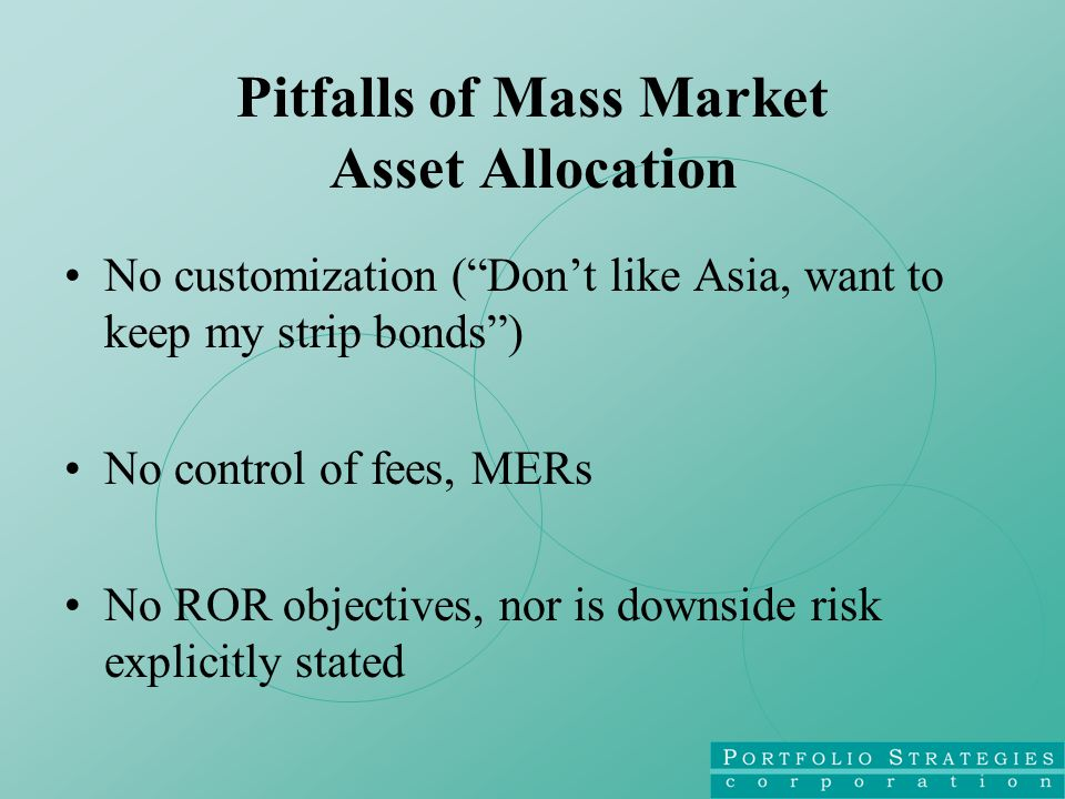Pitfalls of Mass Market Asset Allocation No customization ( Don't like Asia, want to keep my strip bonds ) No control of fees, MERs No ROR objectives, nor is downside risk explicitly stated