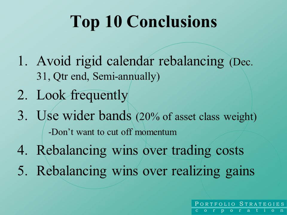 Top 10 Conclusions 1.Avoid rigid calendar rebalancing (Dec.