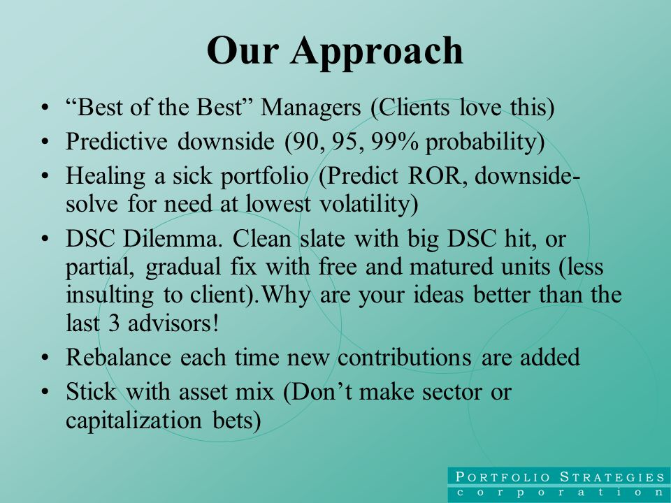 Our Approach Best of the Best Managers (Clients love this) Predictive downside (90, 95, 99% probability) Healing a sick portfolio (Predict ROR, downside- solve for need at lowest volatility) DSC Dilemma.