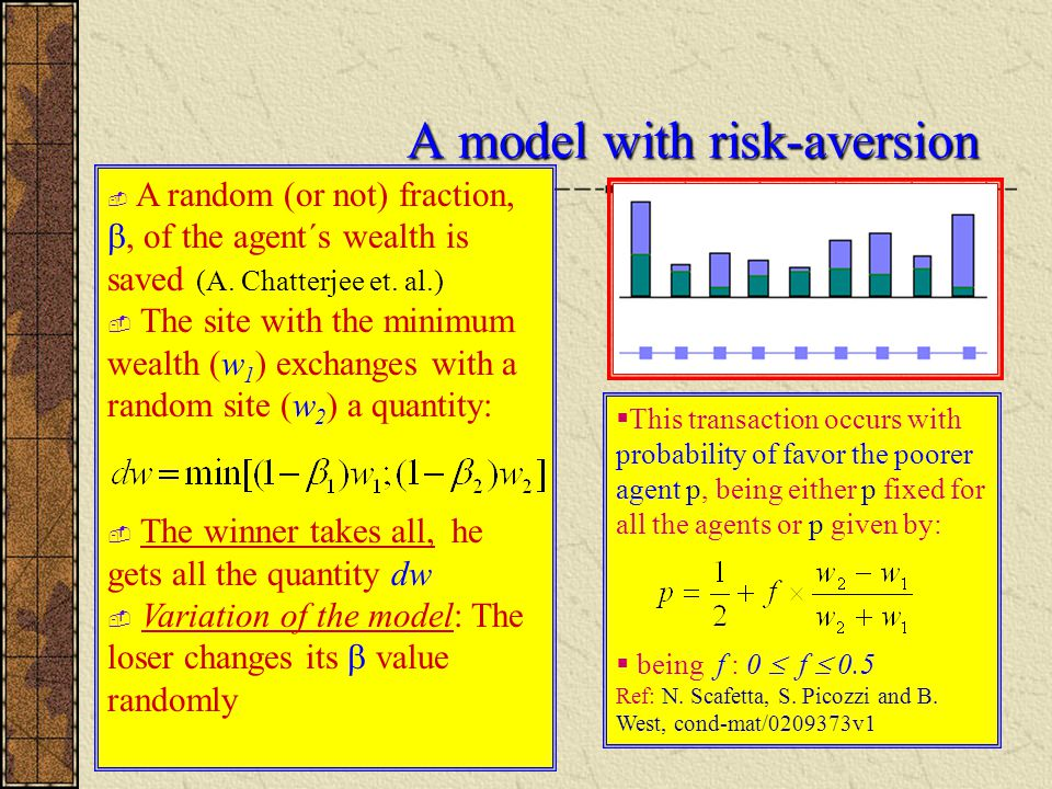 A model with risk-aversion  A random (or not) fraction, , of the agent´s wealth is saved (A.