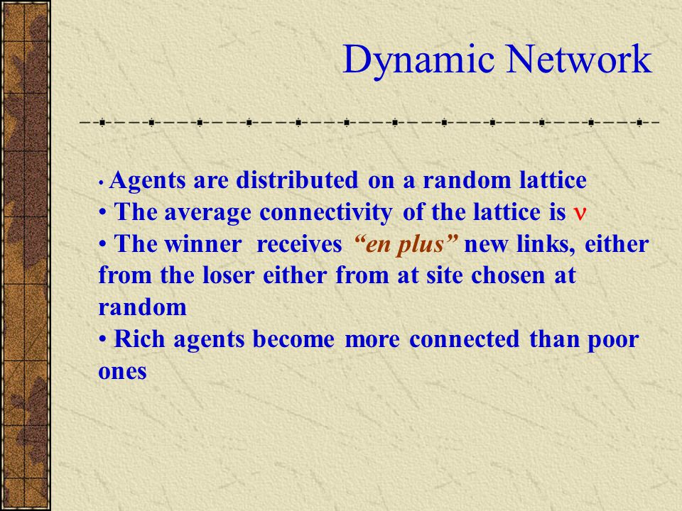 """Dynamic Network Agents are distributed on a random lattice The average connectivity of the lattice is The winner receives """"en plus"""" new links, either"""