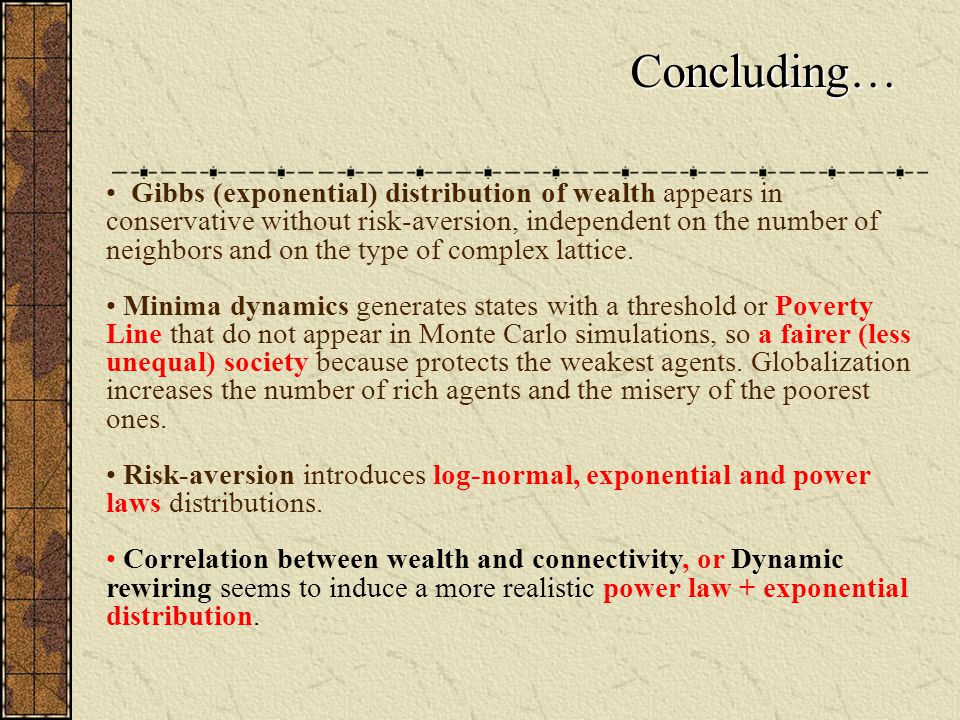 Concluding… Gibbs (exponential) distribution of wealth appears in conservative without risk-aversion, independent on the number of neighbors and on the type of complex lattice.
