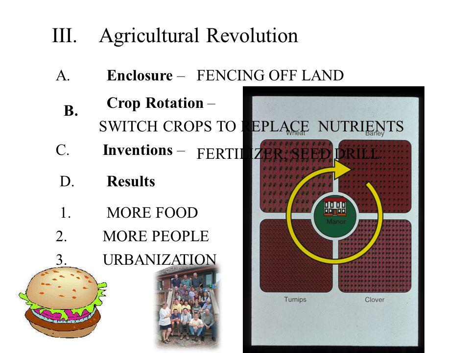 1.MORE FOOD III.Agricultural Revolution A. Enclosure – B.
