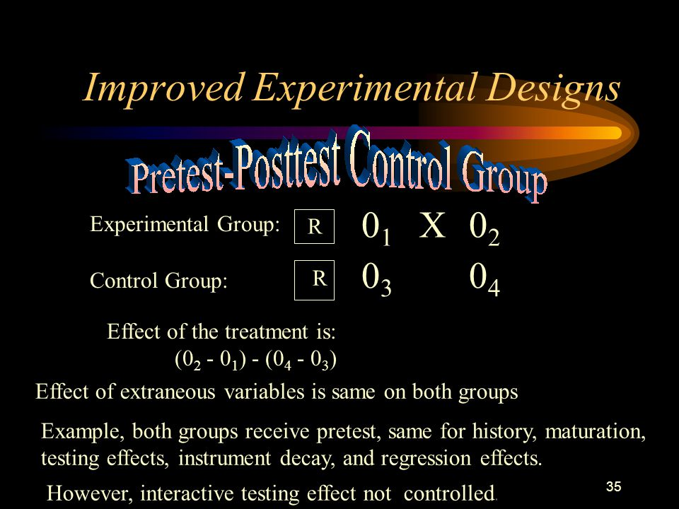 35 Improved Experimental Designs Experimental Group: Control Group: R R 0101 X0202 0303 0404 Effect of the treatment is: (0 2 - 0 1 ) - (0 4 - 0 3 ) Effect of extraneous variables is same on both groups Example, both groups receive pretest, same for history, maturation, testing effects, instrument decay, and regression effects.