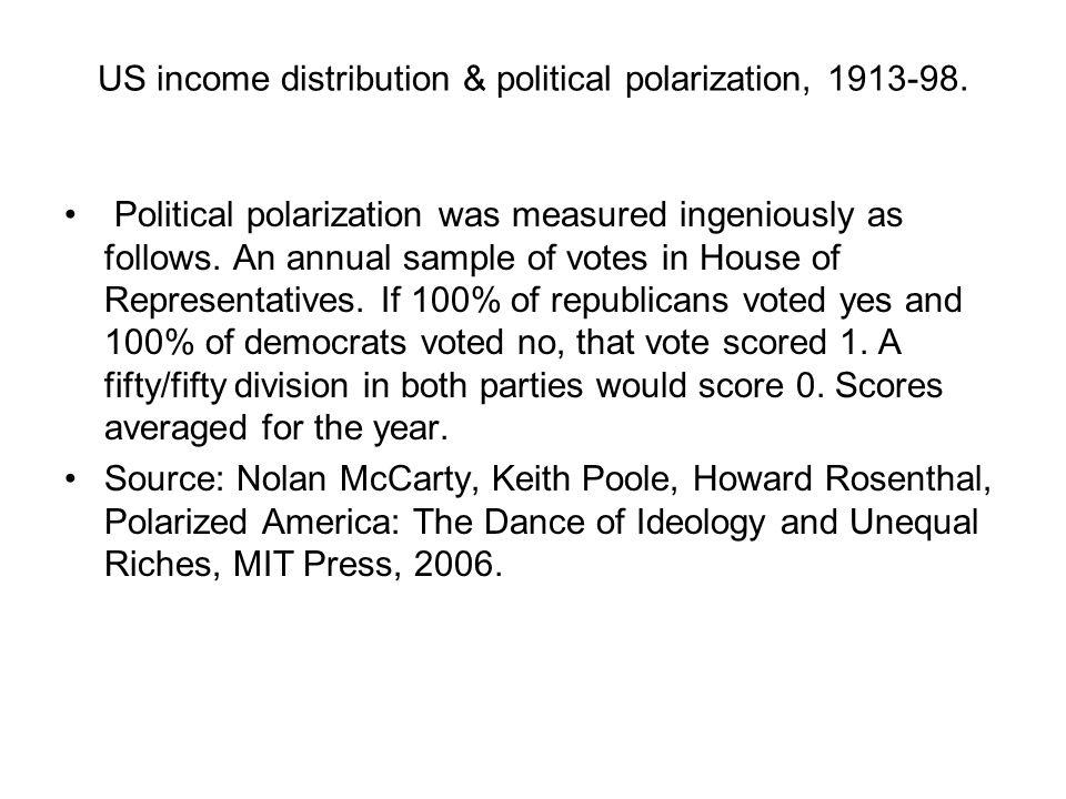 US income distribution & political polarization, 1913-98.