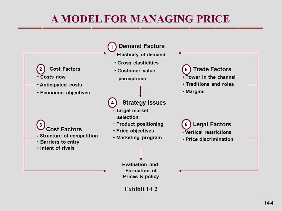 A MODEL FOR MANAGING PRICE Evaluation and Formation of Prices & policy Demand Factors Elasticity of demand Cross elasticities Customer value perceptions 1 Cost Factors Costs now Anticipated costs Economic objectives 2 Cost Factors Structure of competition Barriers to entry Intent of rivals 3 Strategy Issues Target market selection Product positioning Price objectives Marketing program 4 Trade Factors Power in the channel Traditions and roles Margins 5 Legal Factors Vertical restrictions Price discrimination 6 Exhibit 14-2 14-4