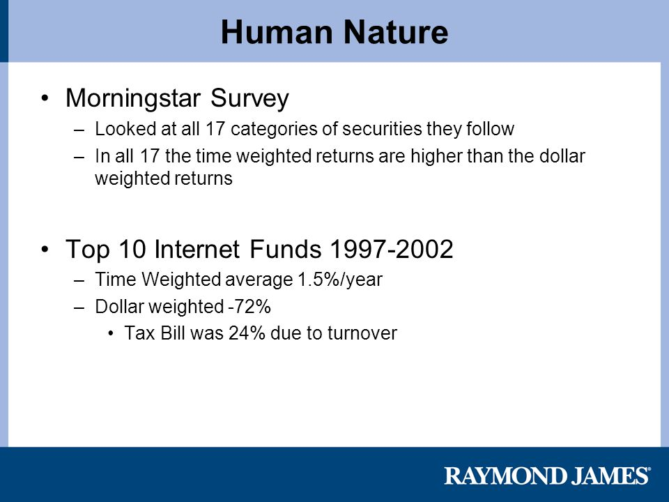 Human Nature Morningstar Survey –Looked at all 17 categories of securities they follow –In all 17 the time weighted returns are higher than the dollar weighted returns Top 10 Internet Funds 1997-2002 –Time Weighted average 1.5%/year –Dollar weighted -72% Tax Bill was 24% due to turnover