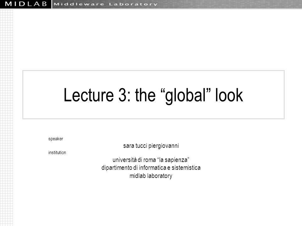 Lecture 3: the global look speaker sara tucci piergiovanni institution università di roma la sapienza dipartimento di informatica e sistemistica midlab laboratory