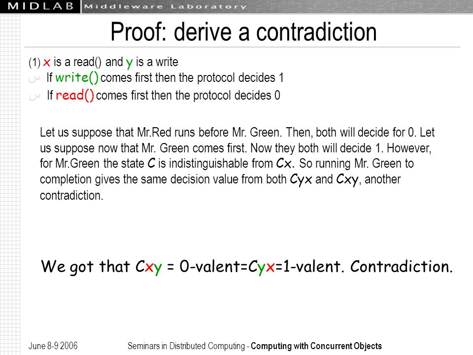 June 8-9 2006 Seminars in Distributed Computing - Computing with Concurrent Objects Proof: derive a contradiction (1) x is a read() and y is a write ﺱ If write() comes first then the protocol decides 1 ﺱ If read() comes first then the protocol decides 0 Let us suppose that Mr.Red runs before Mr.