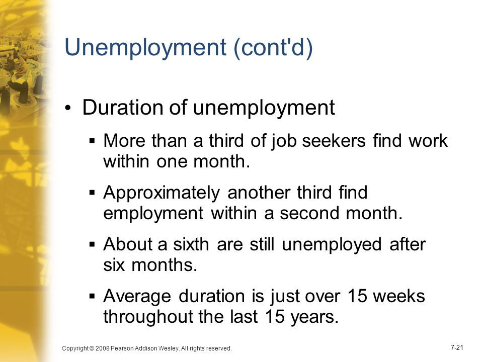Copyright © 2008 Pearson Addison Wesley. All rights reserved. 7-21 Unemployment (cont'd) Duration of unemployment  More than a third of job seekers f