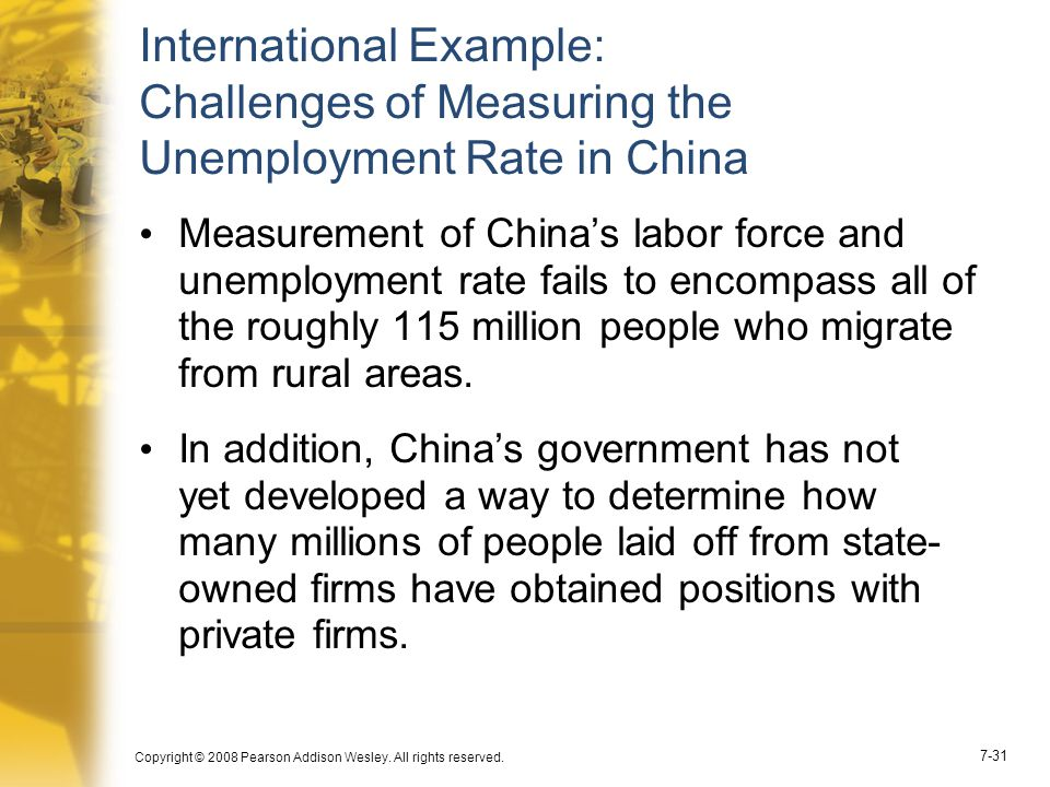 Copyright © 2008 Pearson Addison Wesley. All rights reserved. 7-31 International Example: Challenges of Measuring the Unemployment Rate in China Measu