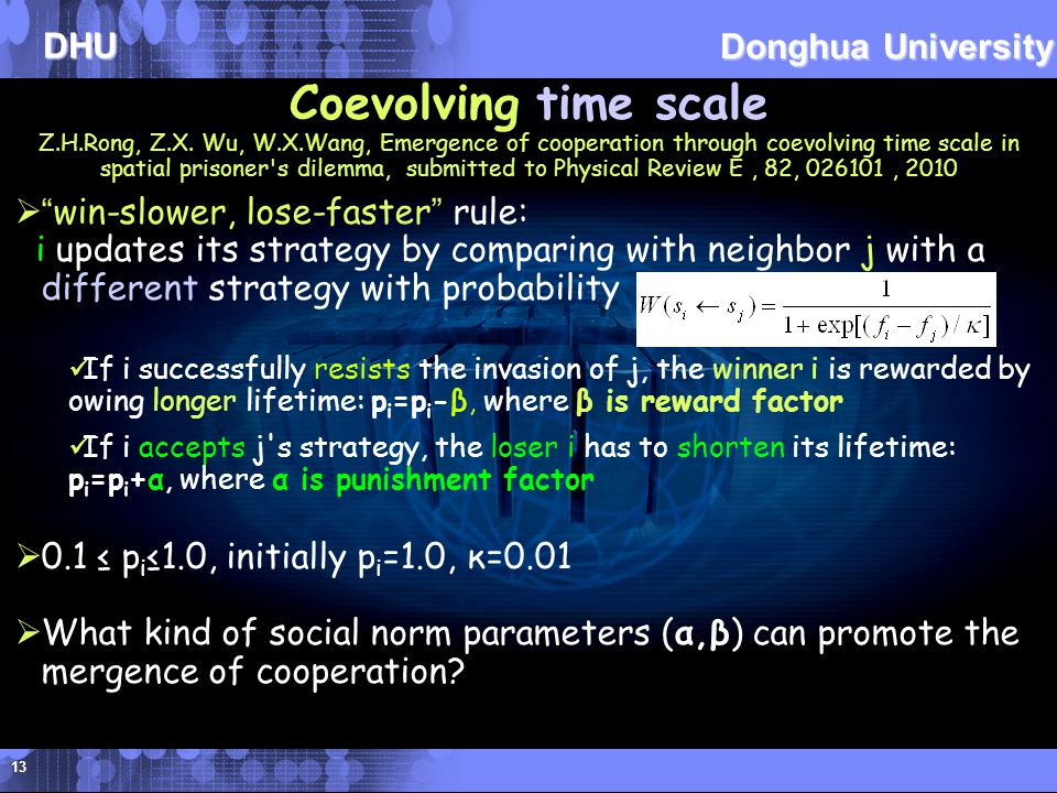 DHU Donghua University 13 Coevolving time scale Z.H.Rong, Z.X.