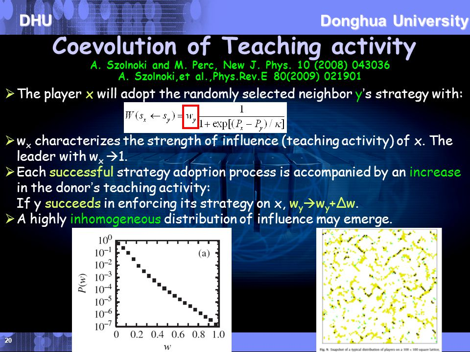 DHU Donghua University Coevolution of Teaching activity A.