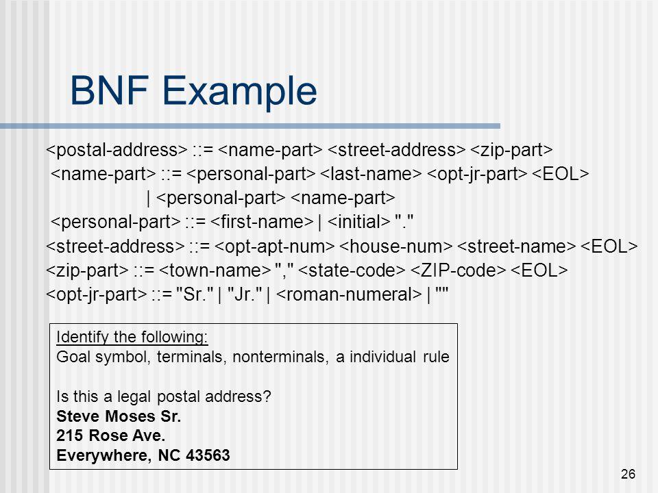 26 BNF Example ::= | ::= |