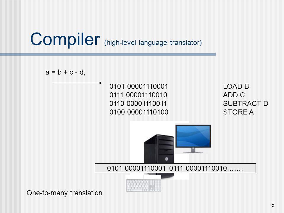 5 Compiler (high-level language translator) a = b + c - d; One-to-many translation 0101 00001110001LOAD B 0111 00001110010ADD C 0110 00001110011SUBTRA