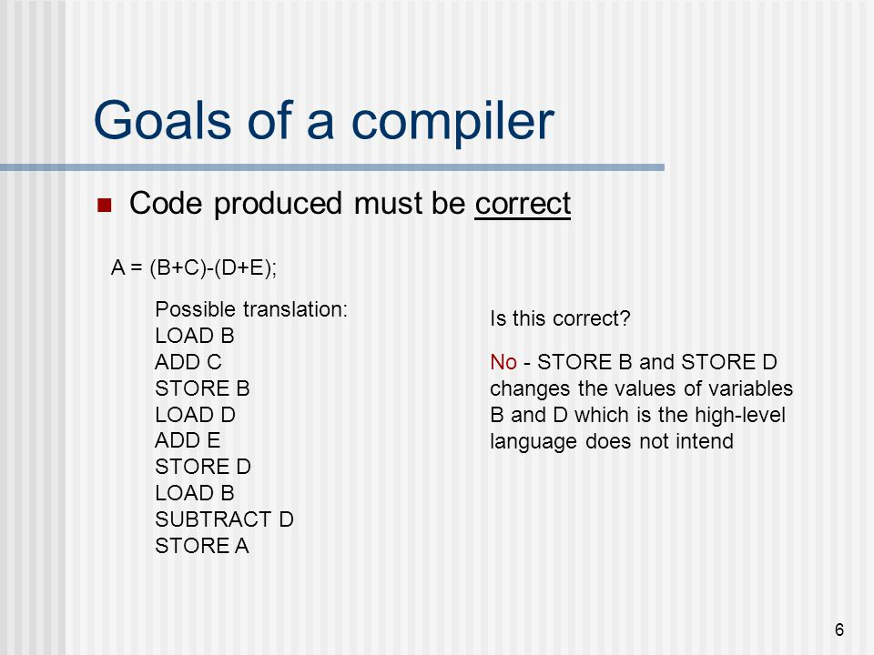 6 Goals of a compiler Code produced must be correct A = (B+C)-(D+E); Possible translation: LOAD B ADD C STORE B LOAD D ADD E STORE D LOAD B SUBTRACT D