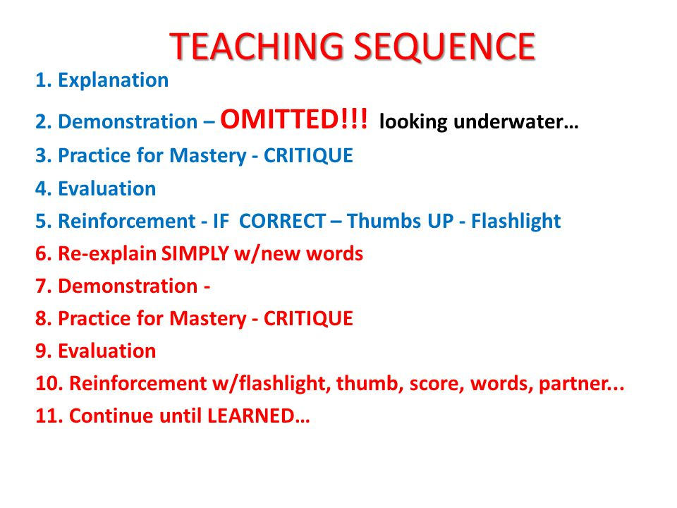 TEACHING SEQUENCE 1. Explanation 2. Demonstration – OMITTED!!.