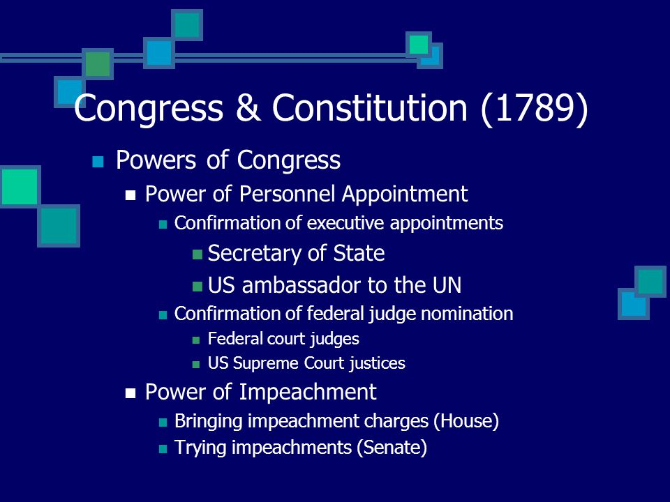 Congress & Constitution (1789) Powers of Congress Law-making Power Establishing rules of naturalization Making patent & copy-right laws Making bankrup