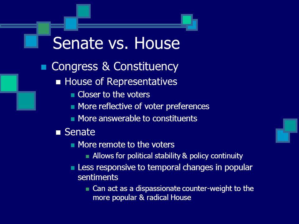 Senate vs. the House Size 435 members in the House (since 1911) 106 members in 1791 representing 3.5 million residents 100 Senators in the Senate Qual