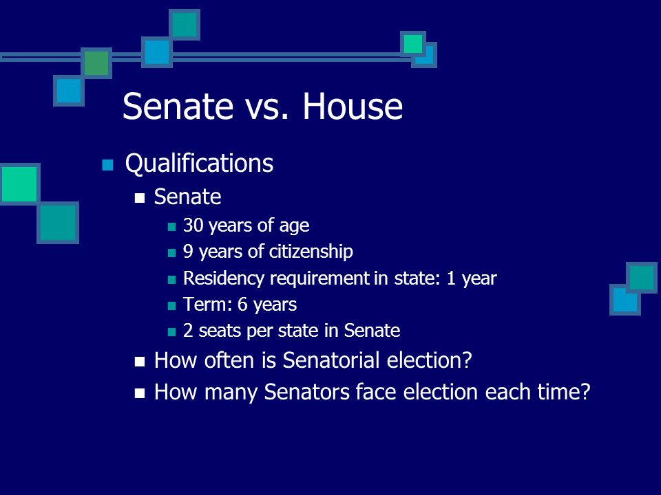 Senate vs. House Congress & Constituency House of Representatives Closer to the voters More reflective of voter preferences More answerable to constit