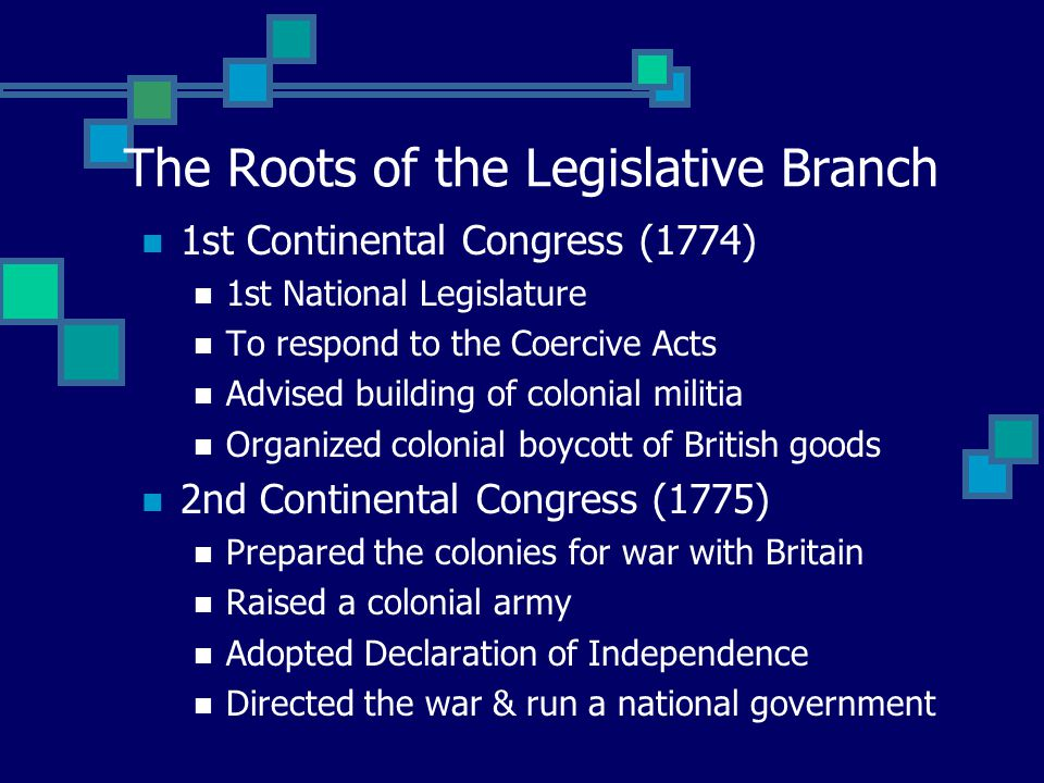 The Roots of the Legislative Branch Colonial Assemblies Bicameral legislative bodies One popularly elected house One Crown-appointed council Served as