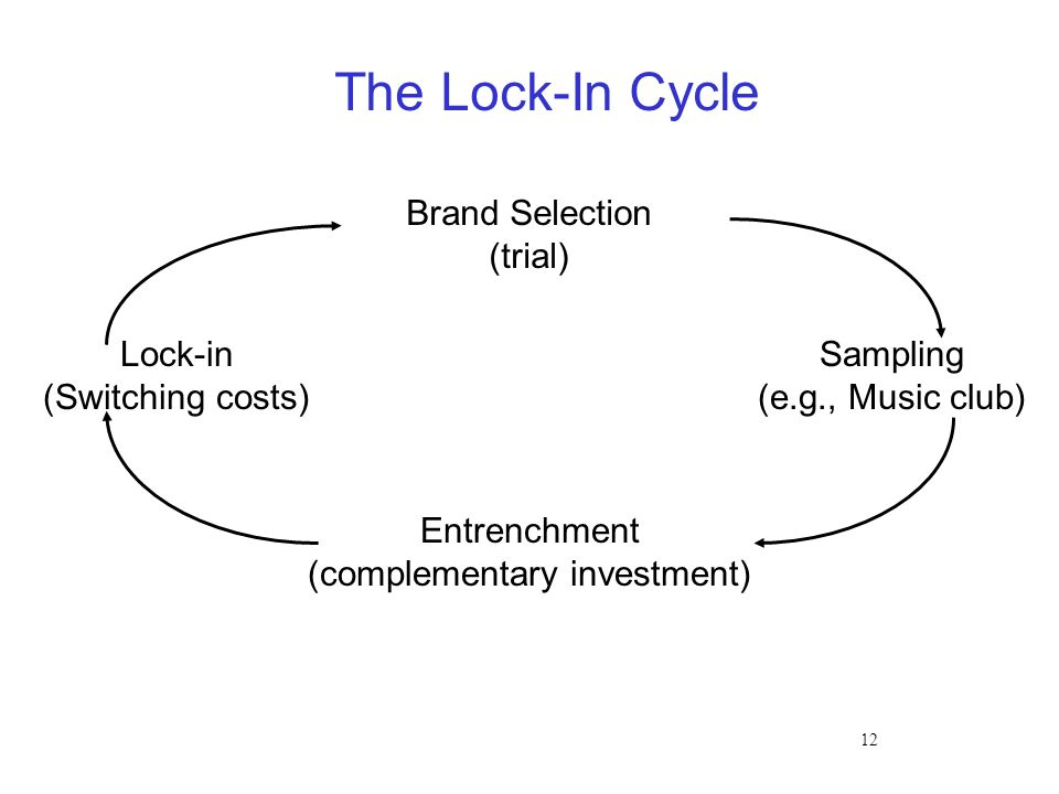 12 The Lock-In Cycle Brand Selection (trial) Entrenchment (complementary investment) Lock-in (Switching costs) Sampling (e.g., Music club)
