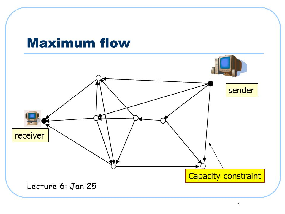 1 Maximum flow sender receiver Capacity constraint Lecture 6: Jan 25