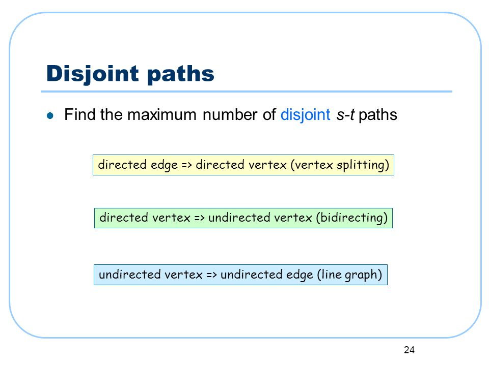 24 Disjoint paths Find the maximum number of disjoint s-t paths directed edge => directed vertex (vertex splitting) directed vertex => undirected vertex (bidirecting) undirected vertex => undirected edge (line graph)