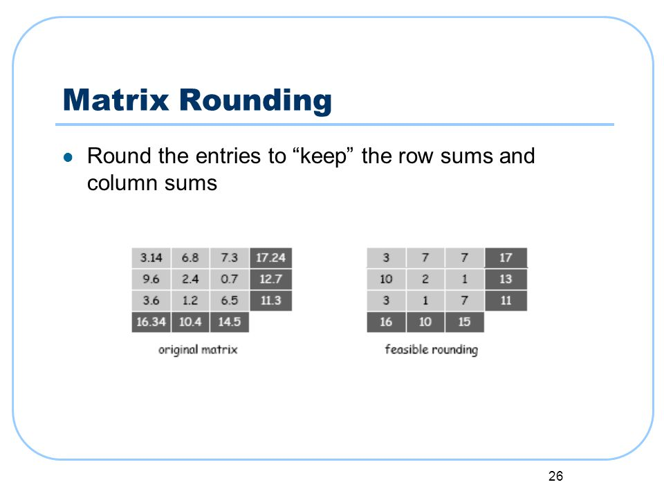 26 Matrix Rounding Round the entries to keep the row sums and column sums