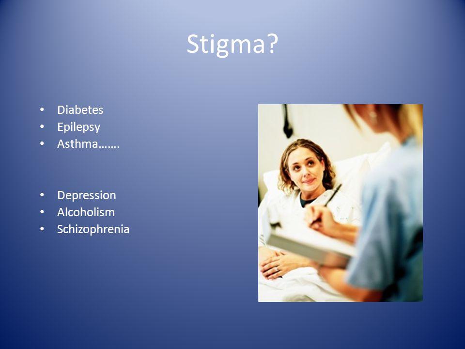 Stigma Diabetes Epilepsy Asthma……. Depression Alcoholism Schizophrenia