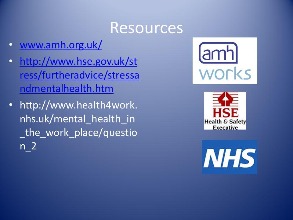 Resources www.amh.org.uk/ http://www.hse.gov.uk/st ress/furtheradvice/stressa ndmentalhealth.htm http://www.hse.gov.uk/st ress/furtheradvice/stressa ndmentalhealth.htm http://www.health4work.