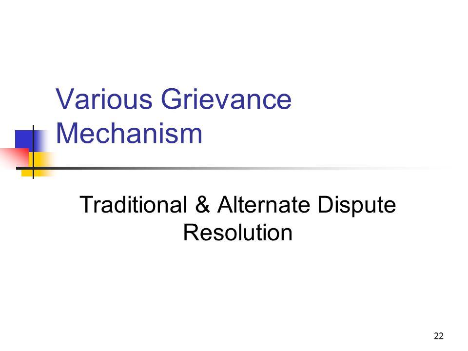 22 Various Grievance Mechanism Traditional & Alternate Dispute Resolution