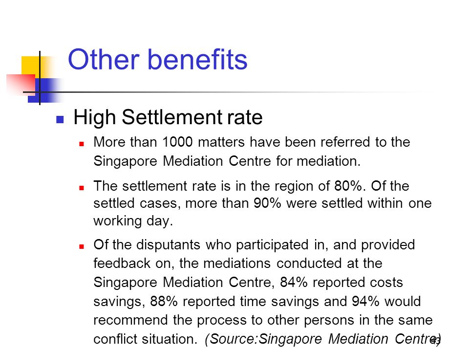 43 Other benefits High Settlement rate More than 1000 matters have been referred to the Singapore Mediation Centre for mediation.