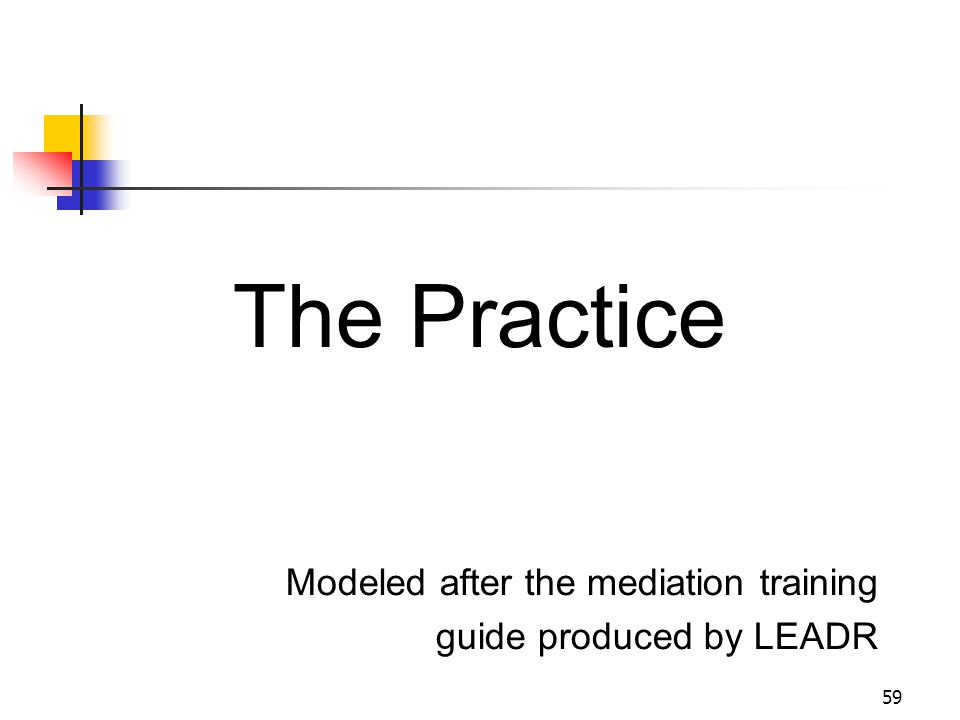 59 The Practice Modeled after the mediation training guide produced by LEADR