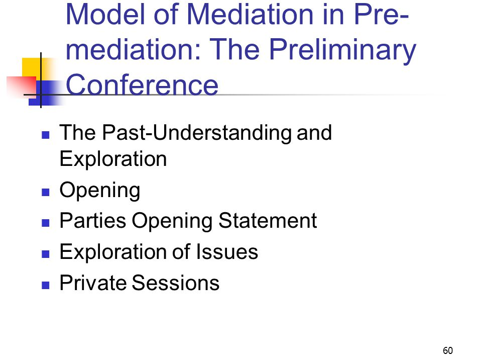 60 Model of Mediation in Pre- mediation: The Preliminary Conference The Past-Understanding and Exploration Opening Parties Opening Statement Exploration of Issues Private Sessions