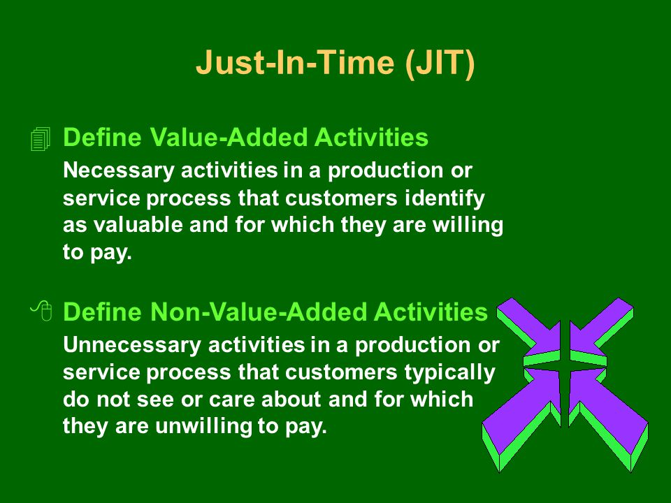 Just-In-Time (JIT) 4Define Value-Added Activities Necessary activities in a production or service process that customers identify as valuable and for which they are willing to pay.