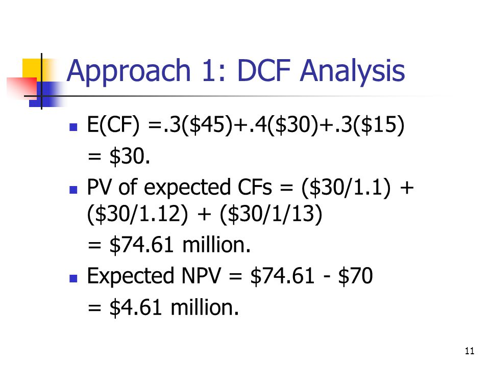 11 Approach 1: DCF Analysis E(CF) =.3($45)+.4($30)+.3($15) = $30. PV of expected CFs = ($30/1.1) + ($30/1.12) + ($30/1/13) = $74.61 million. Expected