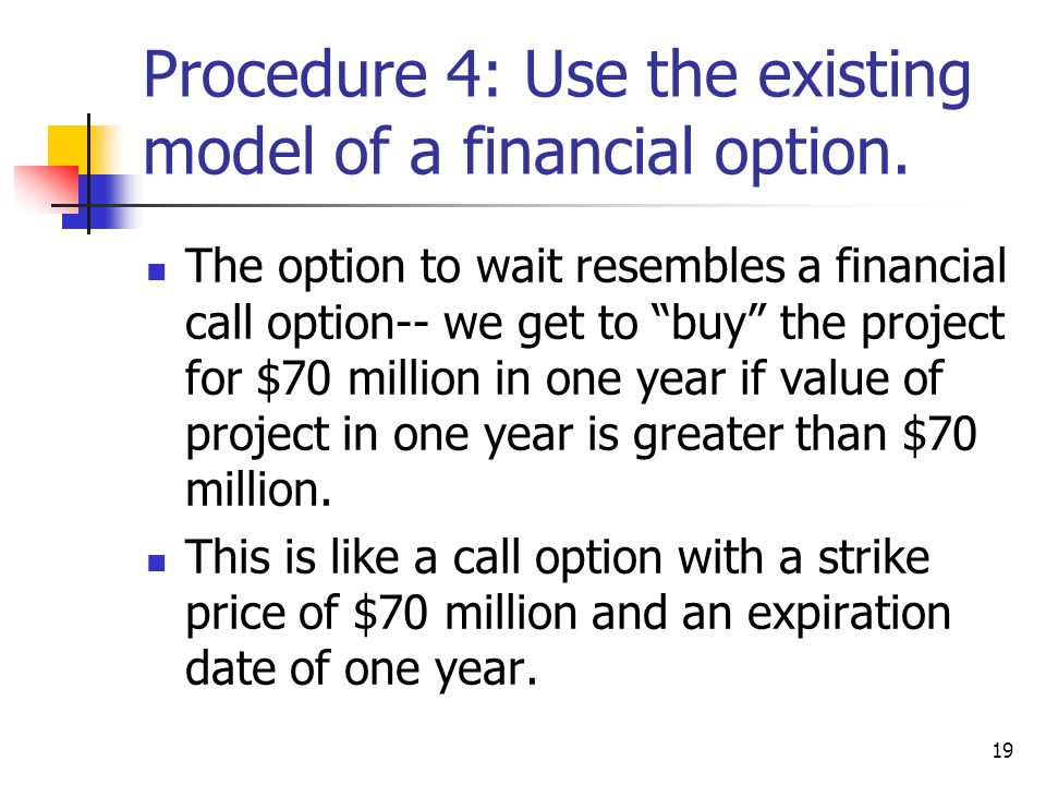 19 Procedure 4: Use the existing model of a financial option.
