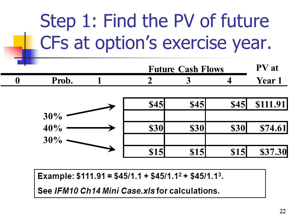 22 Step 1: Find the PV of future CFs at option's exercise year.