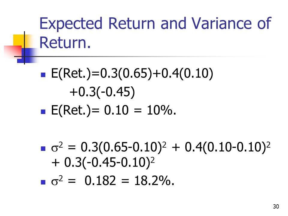 30 Expected Return and Variance of Return.