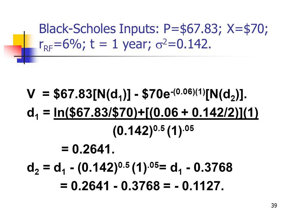 39 Black-Scholes Inputs: P=$67.83; X=$70; r RF =6%; t = 1 year;  2 =0.142. V = $67.83[N(d 1 )] - $70e -(0.06)(1) [N(d 2 )]. d 1 = ln($67.83/$70)+[(0.