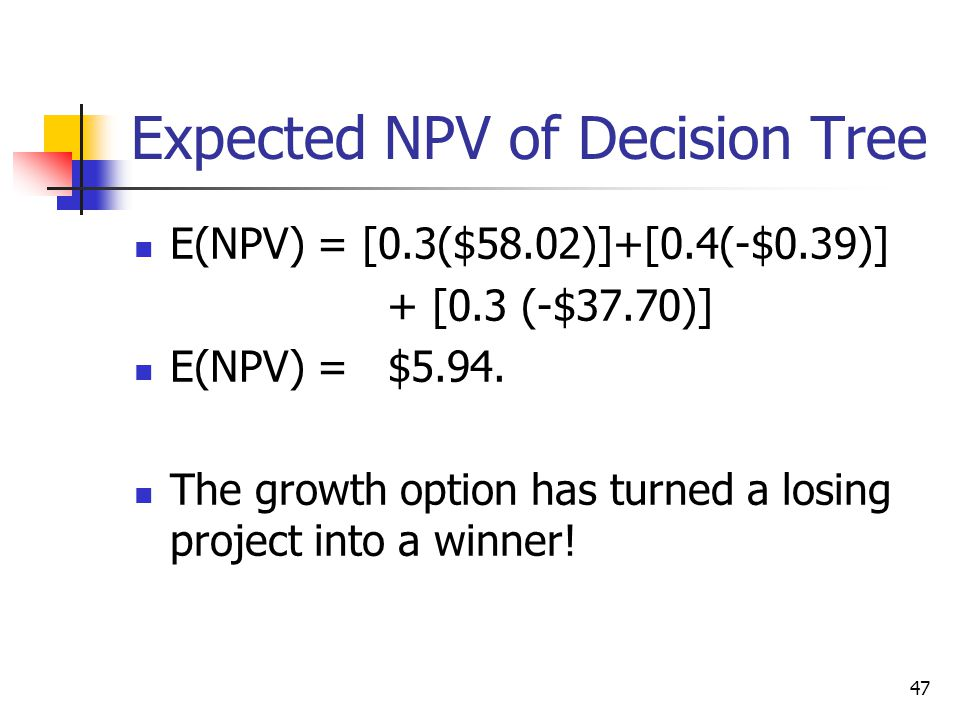 47 Expected NPV of Decision Tree E(NPV) = [0.3($58.02)]+[0.4(-$0.39)] + [0.3 (-$37.70)] E(NPV) = $5.94.