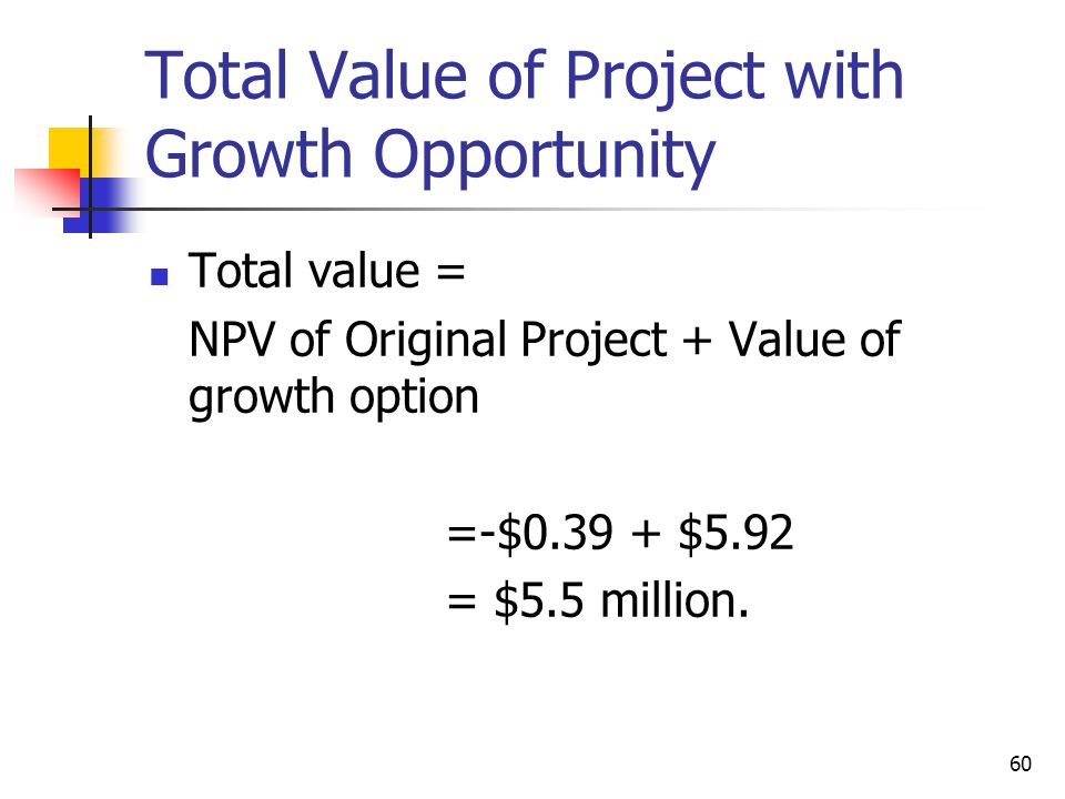 60 Total Value of Project with Growth Opportunity Total value = NPV of Original Project + Value of growth option =-$0.39 + $5.92 = $5.5 million.